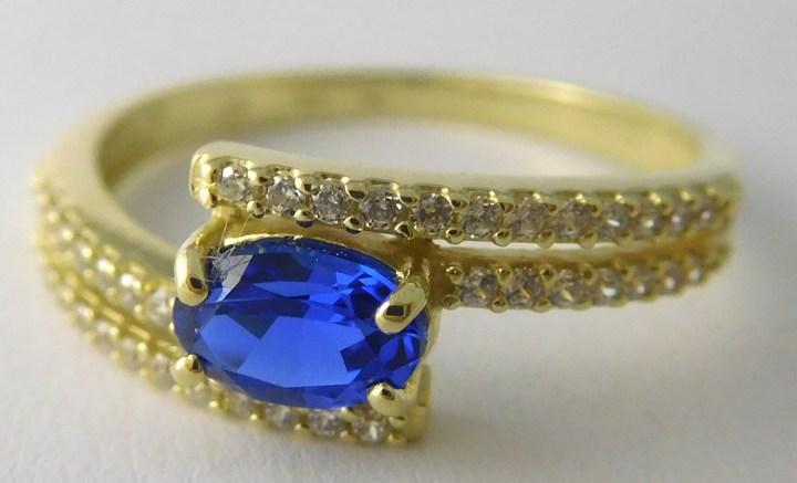 Mohutný zásnubní luxusní prsten s modrým safírem zirkony vel. 57 588/2,77gr Z159 (226041083 - POŠTOVNÉ ZDARMA)