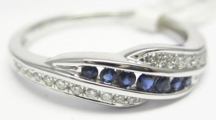 Luxusní prsten s diamantem, bílé zlato briliant, přírodní safír vel.54 P741 (3860481 - IHNED k odeslání!!!)