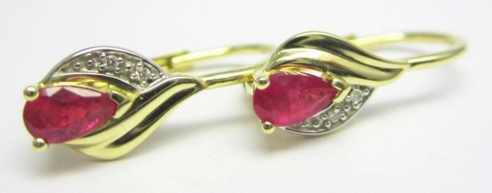 Luxusní zlaté diamantové náušnice s pravými červenými rubíny 585/1,67gr 3830948