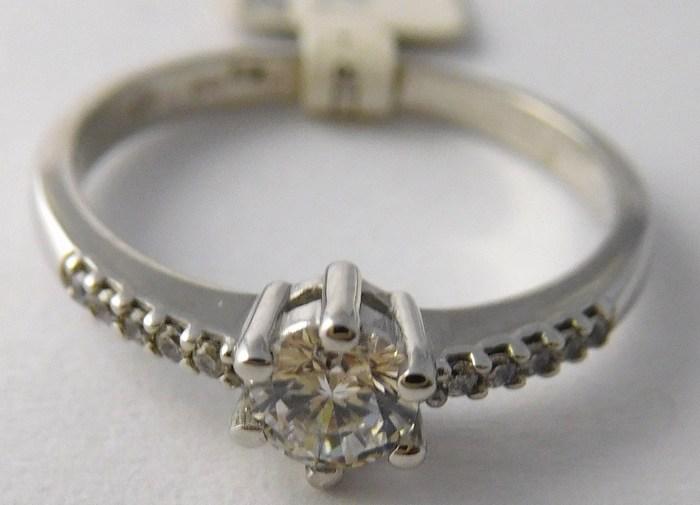 Zásnubní zlatý prsten z bílého zlata se zirkony vel. 49 585/1,82gr P749 (3560219)