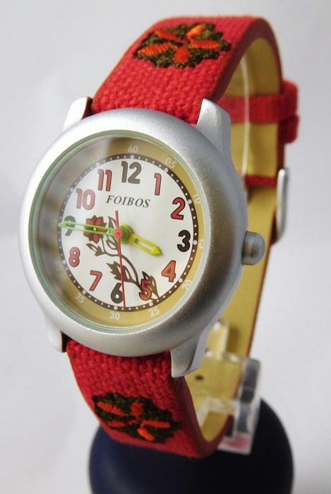 Dětské dívčí červené hodinky Foibos 1055.1 pro malé děvčata
