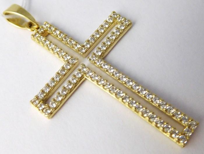 Obrovský velký zlatý křížek posetý mnoha zirkony 585/2,16gr H705