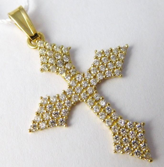 Velký luxusní zlatý křížek - přívěsek posetý mnoha zirkony velký 585/1,51gr H707