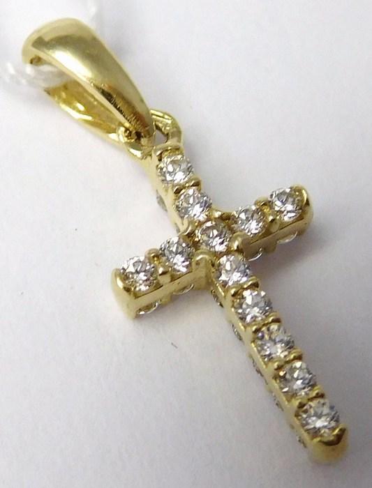 Luxusní oboustranný zlatý křížek posetý zirkony (z obou stran) 24ks zirkony H712