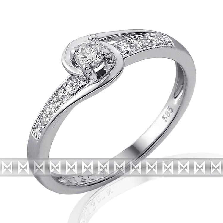 Luxusní zásnubní diamantový prsten z bílého zlata 1/0,11 ct + 6/0,03 ct 585/2,0g (3861844)