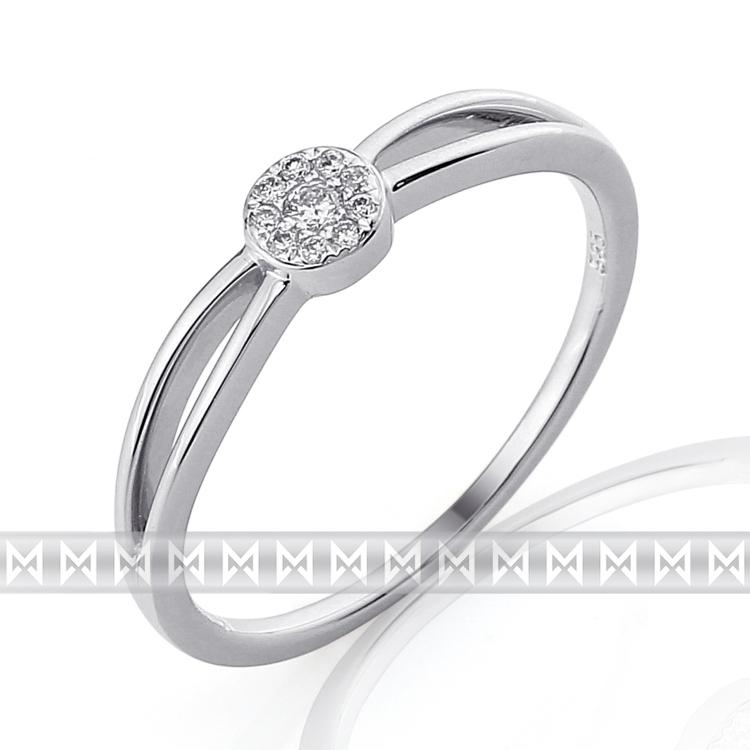 Luxusní zásnubní diamantový prsten z bílého zlata 10/0,05 ct 585/1,55 gr (3861306)