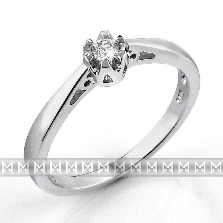Luxusní zásnubní diamantový prsten z bílého zlata 1/0,06 ct 585/2,00 gr (3861310)