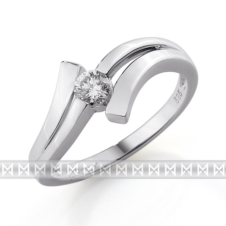 Luxusní zásnubní diamantový prsten z bílého zlata 1/0,09 ct 585/1,90 gr (3860107)