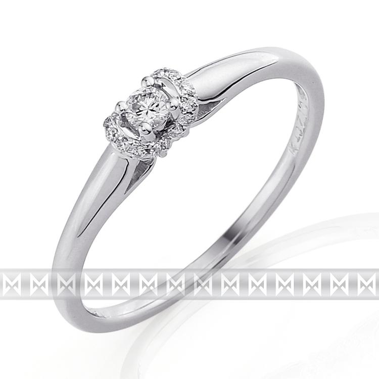 Luxusní zásnubní diamantový prsten z bílého zlata 17/0,12 ct 585/1,55 gr
