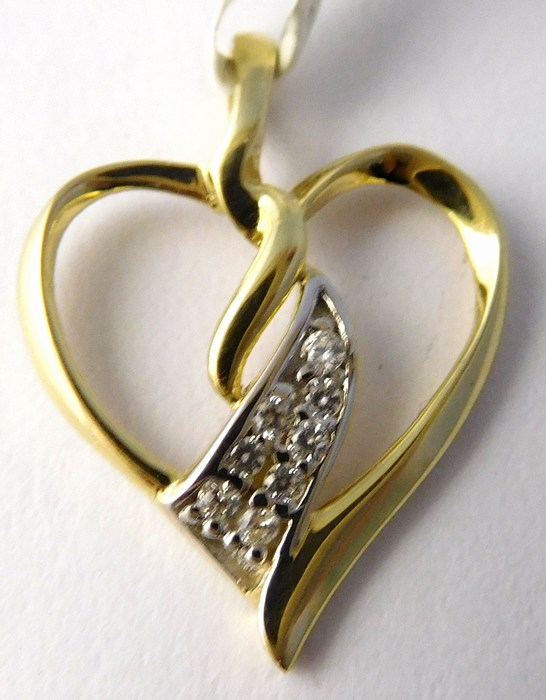 Zlatý přívěsek - zlaté srdíčko se zirkony pro zamilované 585/0,77gr 1124015