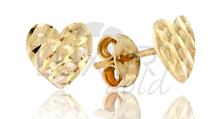 Zlaté náušnice - zlaté pecičky gravírované srdíčka pro zamilované 1,10g 2130462