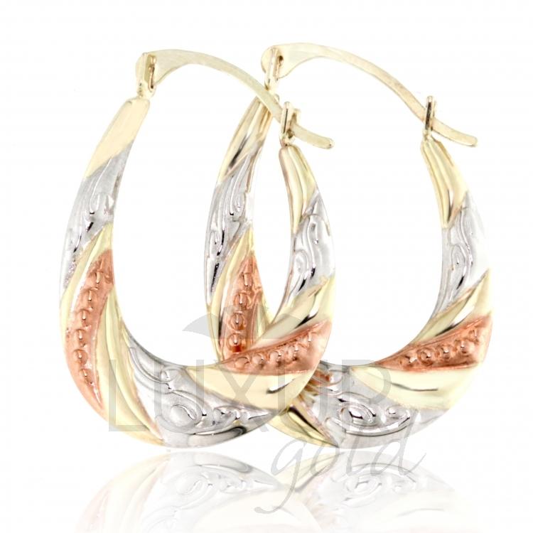 Luxusní zlaté náušnice v kombinaci zlata - zlaté kruhy 585/1,15gr 1930317