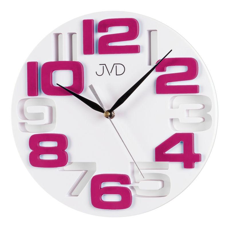 Fialkovo bílé designové nástěnné hodiny JVD H107.7 NOVINKA ROKU