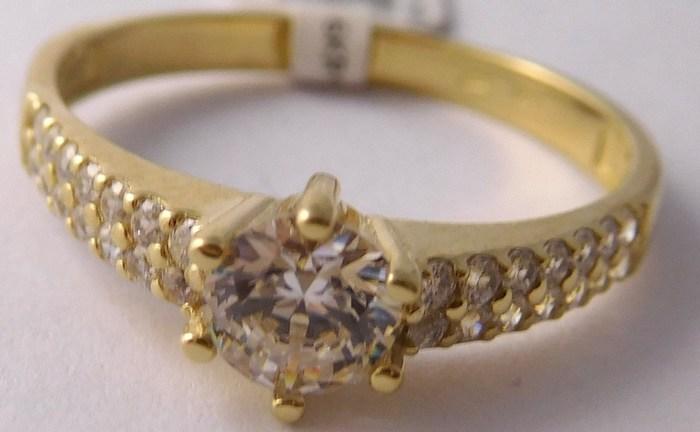 Zásnubní mohutný zlatý prsten se zirkony vel. 58 585/2,55gr 5210516 (5210516 - POŠTOVNÉ ZDARMA!!)