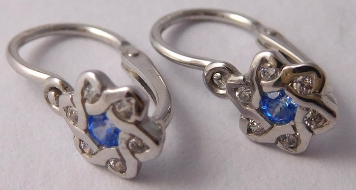 Dětské zlaté náušnice s modrými akvamaríny a zirkony 585/0,87gr 4080027