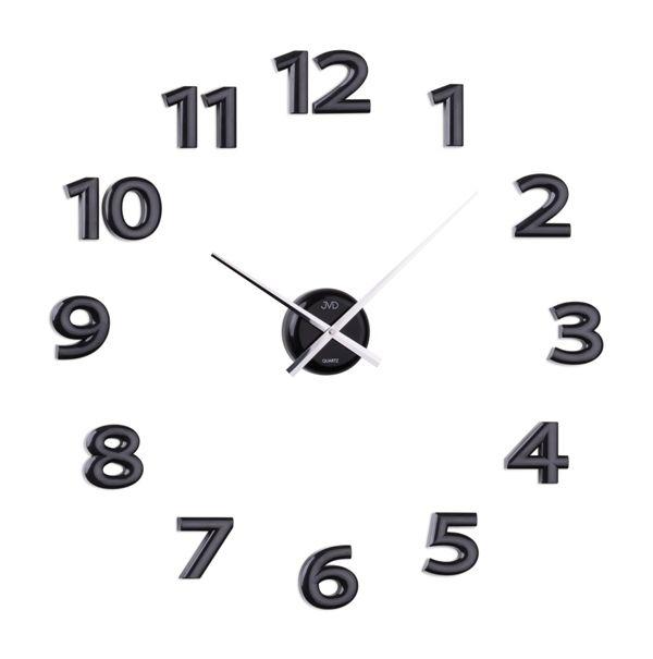 Černé exkluzivní luxusní nástěnné nalepovací hodiny JVD HB12.1