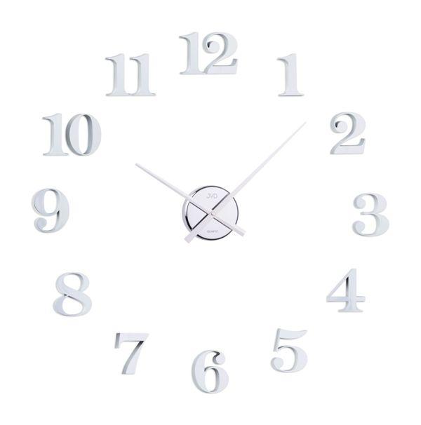 Bílo-stříbrné nalepovací samolepicí hodiny JVD HB13.1 s arabskými číslicemi