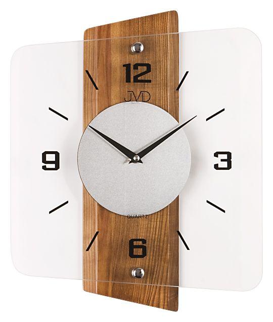 Skleněné dřevěné moderní nástěnné hodiny JVD quartz N20131.11