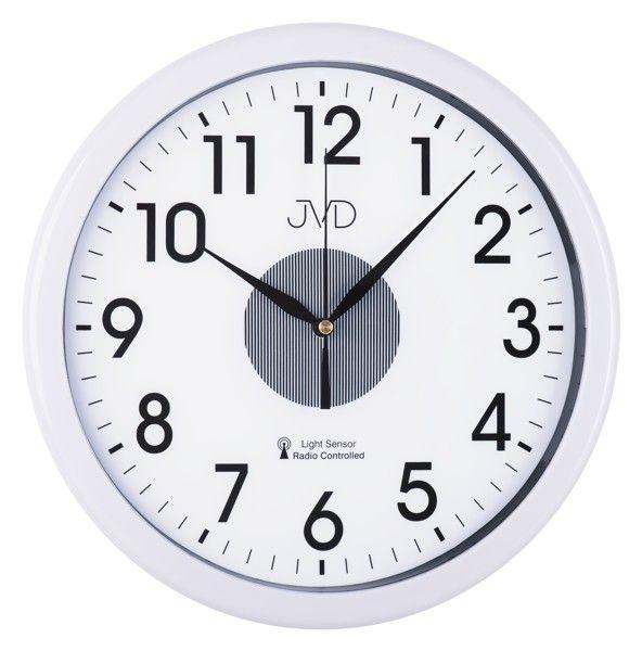 Rádiem řízené nástěnné hodiny JVD RH692.1 (bílé hodiny se senzorem podsvícení)