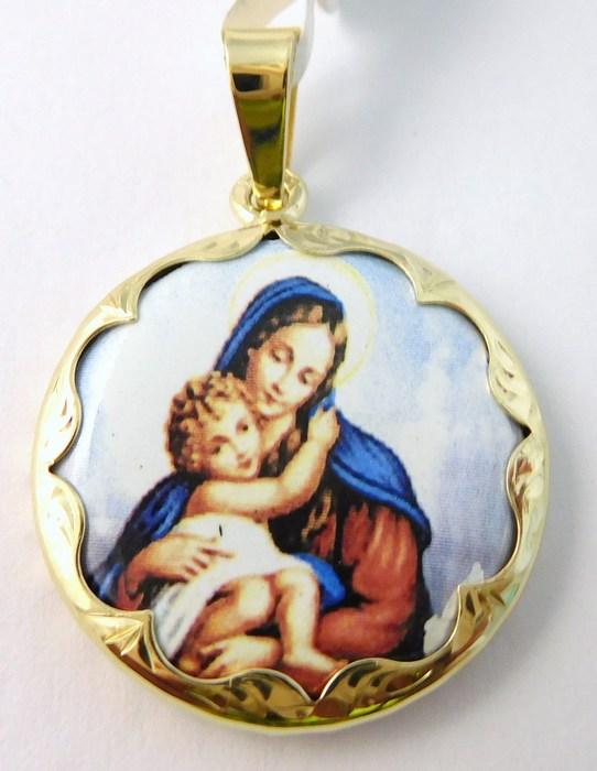 Luxusní zlatý přívěsek - zlatá madonka s dítětem - kulatá 585/4,15gr 3320044 (3320044)