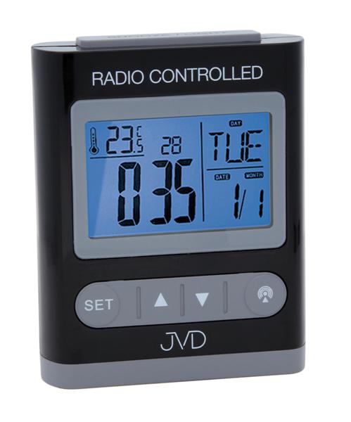 Černý digitální rádiem řízený budík JVD RB31.3 (celoplošné podsvícení, teploměr, melodie)
