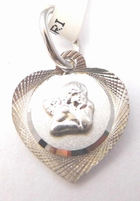 Zlatý medailonek - zlatý andělíček v srdíčku 585/0,70gr 2370199 (2370199 - POŠTOVNÉ ZDARMA)