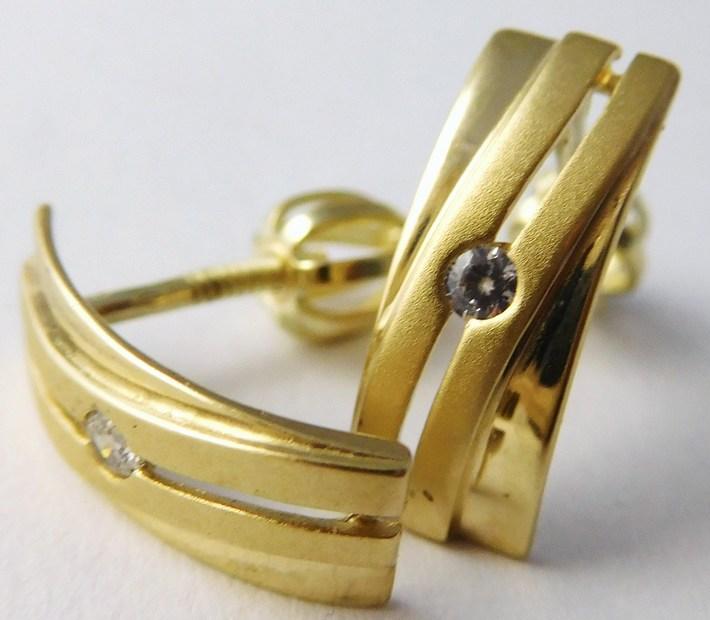 Gravírované zlaté náušnice na šroubek 585/1,95gr 6830345 - POŠTOVNÉ ZDARMA