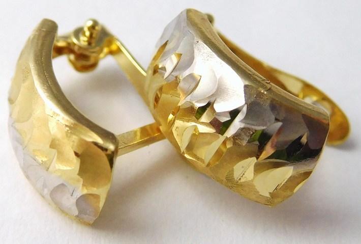 Gravírované zlaté náušnice z bílého a žlutého zlata 585/1,50gr 1231017 (1231017 - DOPRAVA ZDARMA)