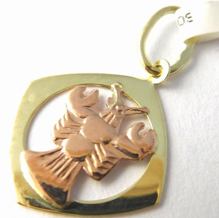 Gravírovaný zlatý přívěsek - znamení RAK 585/0,50gr 3220067