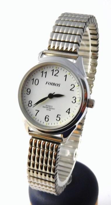 Dámské stříbrné čitelné hodinky Foibos 3700 s pérovacím páskem