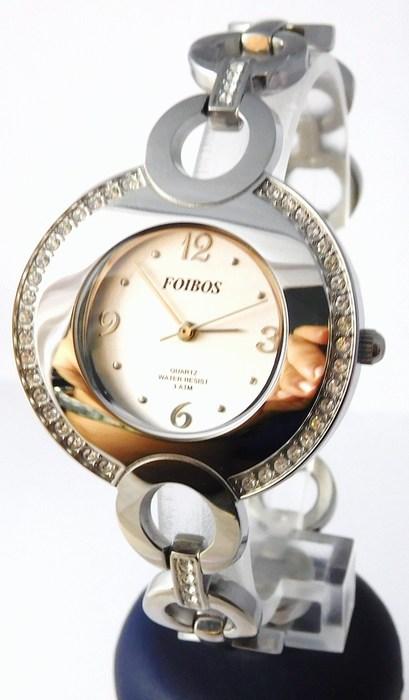 Šperkové dámské stříbrné hodinky s kamínky po obvodu Foibos 2472 (POŠTOVNÉ ZDARMA!!!)