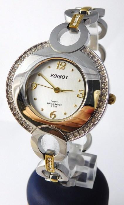 Šperkové dámské hodinky s kamínky po obvodu Foibos 24721 BICOLOR (POŠTOVNÉ ZDARMA!!!)