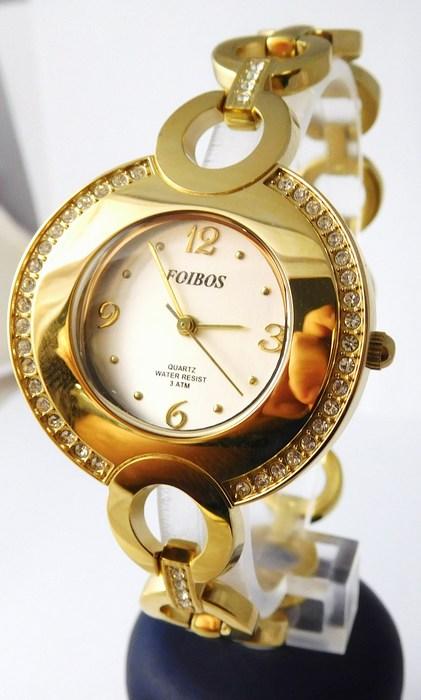 Šperkové dámské hodinky s kamínky po obvodu Foibos 24722 - zlaté (POŠTOVNÉ ZDARMA!!!)