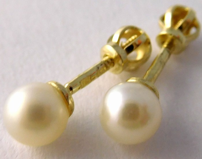 Zlaté pecičky - zlaté náušnice s perlami 585/0,72gr Zlatokov 235470019