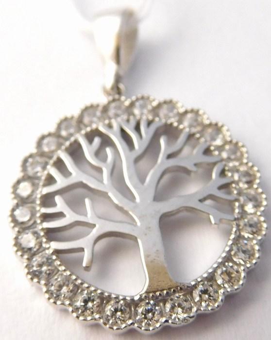 Přívěsek v bílém zlatě poseté zirkony strom života 585/1,76gr H739 poštovné 0,- (POŠTOVNÉ ZDARMA!!)
