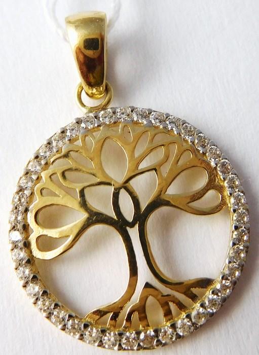 Zlatý přívěsek - zlatý strom života posetý zirkony 585/1,37gr H746 (POŠTOVNÉ ZDARMA!!)