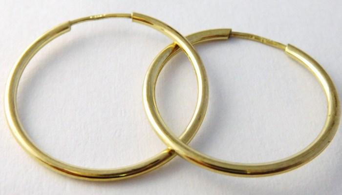 Zlaté dámské kruhy - zlaté náušnice průměr 21mm 585/0,55gr T219 (průměr 21mm)