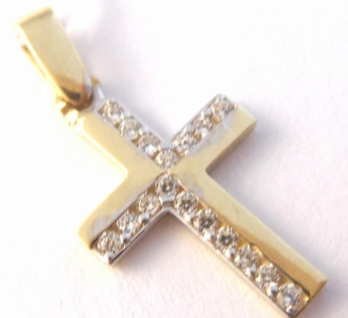 Zlatý přívěsek - zlatý křížek se zirkony 17ks 585/0,95gr H750