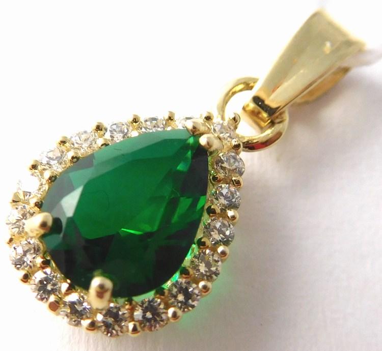 Zlatý přívěsek se zeleným smaragdem a zirkony slzička 585/1,14gr H754 (POŠTOVNÉ ZDARMA!!)