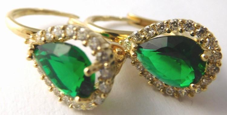 Mohutné zlaté náušnice se zelenými smaragdy 585/3,22gr H755