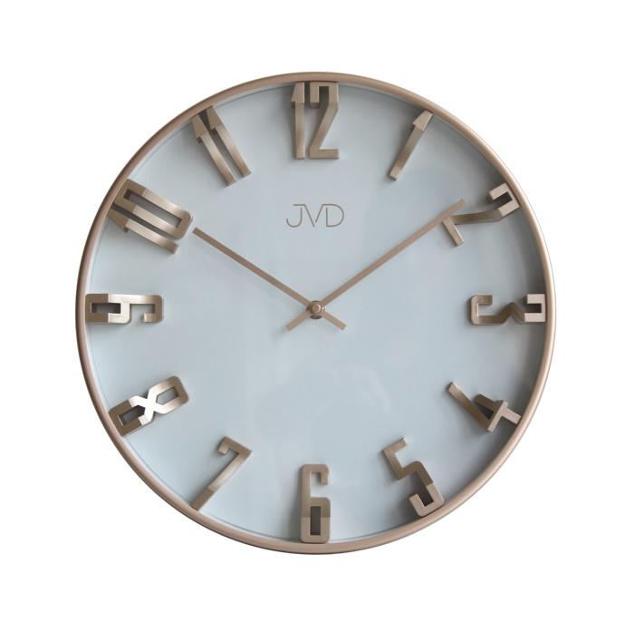 Kovové 3D designové nástěnné hodiny JVD HO171.3 - šampaň