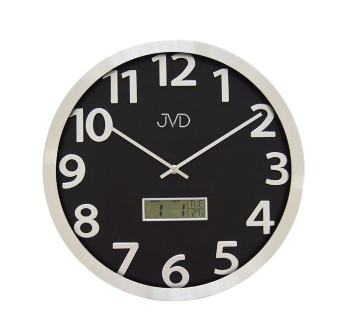 Kovové nástěnné hodiny JVD HO047.1 s digitálním teploměrem a ukazatelem data