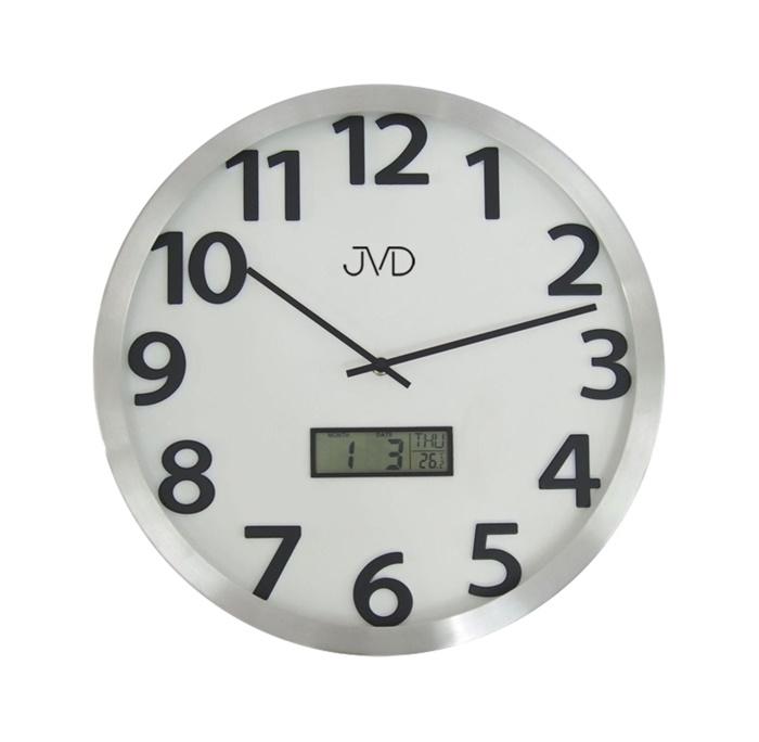 Kovové nástěnné hodiny JVD HO047.2 s digitálním teploměrem a ukazatelem data