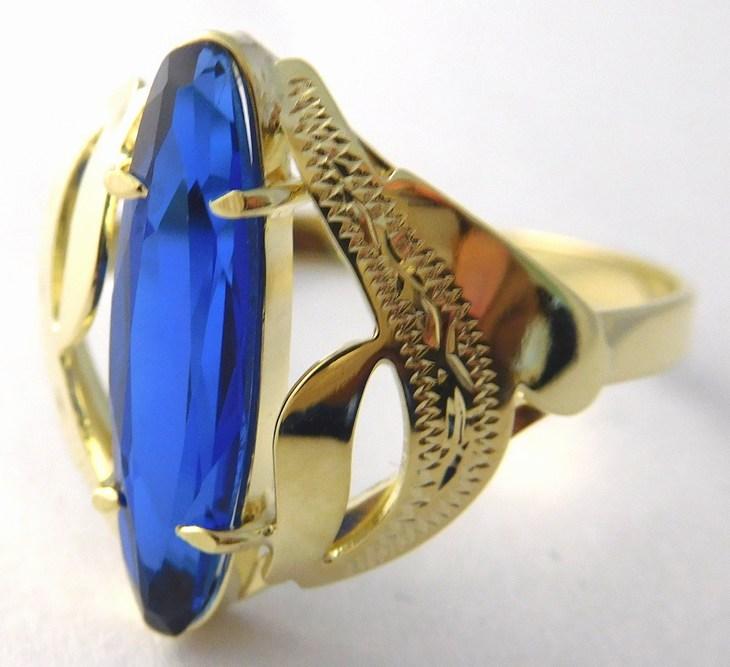 Mohutný zásnubní zlatý prsten s modrým safírem 585/2,48gr vel.60 226041009 (226041009 - DOPRAVA ZDARMA)