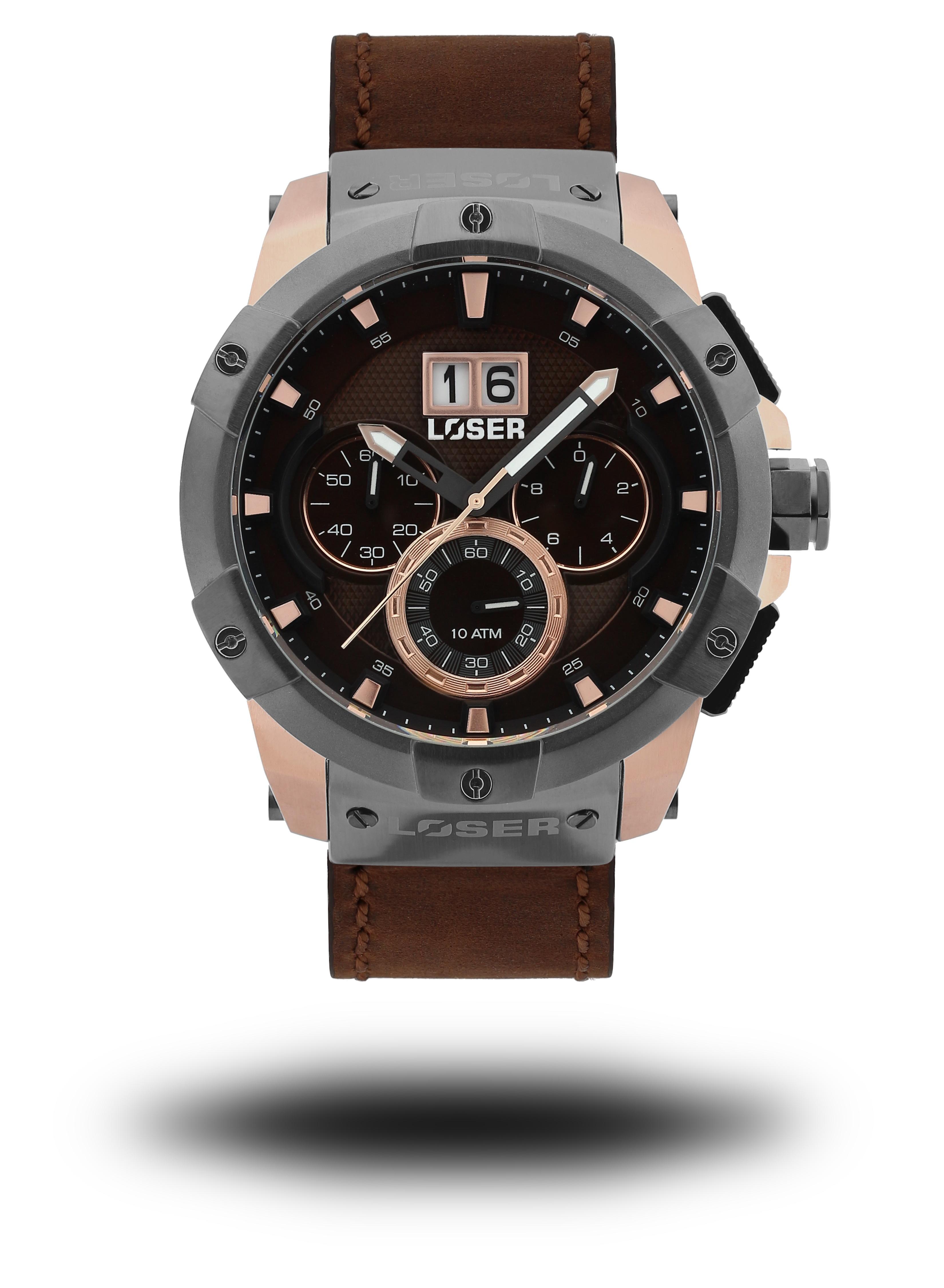 Luxusní nadčasové sportovní vodotěsné mohutné hodinky LOSER Vision NOBLE  BROWN 67b4b1bd60