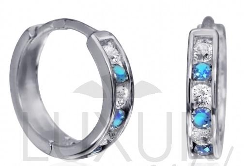 Dívčí náušnice - zlaté kroužky s modrými topazy 585/1,17gr 1181195