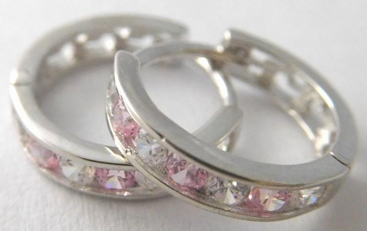 Dívčí náušnice - zlaté kroužky s růžovými růženíny 585/1,05gr 1181195