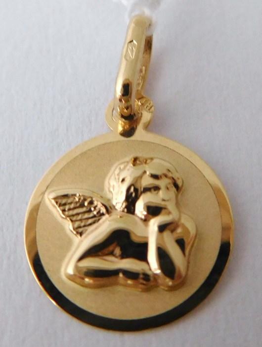 Zlatý přívěsek - zlatý andělíček s gravírováním 585/0,40gr H781 ( )