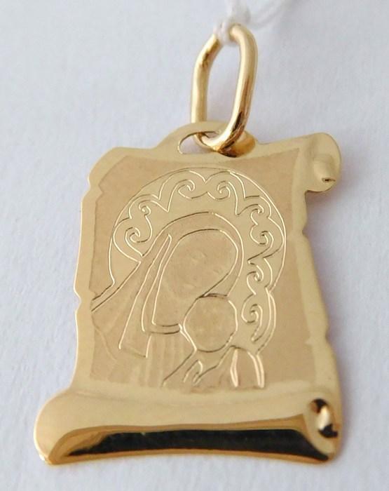 Zlatý přívěsek - zlatá madonka s dítětem s gravírováním 585/0,51gr H784 ( )