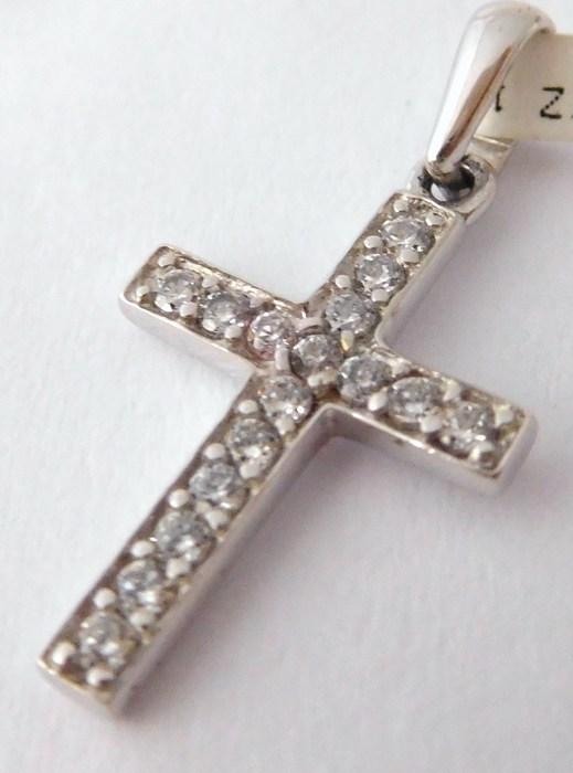 Zlatý křížek z bílého zlata posetý zirkony 16ks 585/0,77gr 1170540